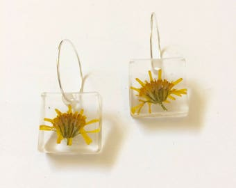 Yellow Pressed Flower Earrings