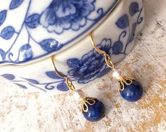 Dainty Lapis Lazuli Swarovski Pearl Earrings
