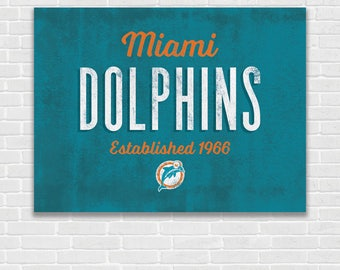 Miami Dolphins - Vintage Typography - Art Print - Perfect for Mancave