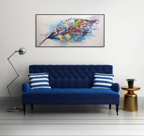 Painting Large Abstract Art Acrylic Painting/Original Painting Canvas/Living Room/ Large Wall Art Abstract Leaf/ Colorful Textured Wall Art