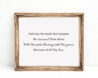 Kitchen Blessing, Kitchen Prayer, Minimalist Kitchen Art, Rustic Decor, Kitchen Wall Art