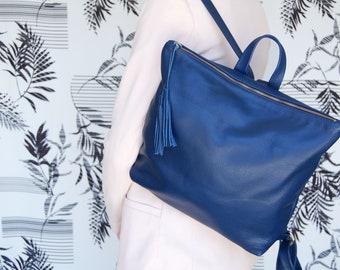 Leather backpack, minimalist work backpack, Women's backpack, modern shaped backpack, everyday minimalist bag