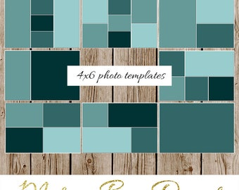 PHOTO COLLAGE TEMPLATES, 4x6 storyboard template, blog board, photography template, photo display, illustrator, photoshop, instant download