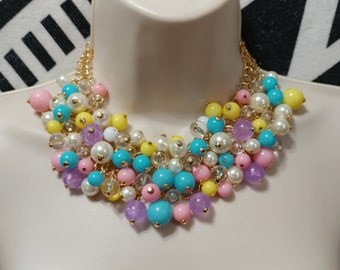 Yellow,Pink,Purple,Blue, and Clear Lucite Bauble, Cluster Bead Gold tone Necklace Choker