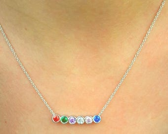 Birthstone Mothers Necklace-Birthstone Necklace-Mothers Necklace-Family Necklace-Custom Birthstone Necklace