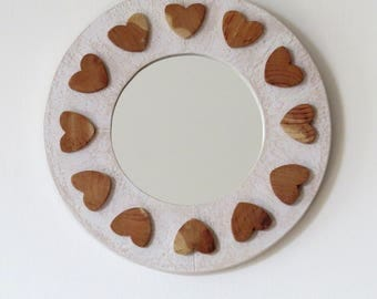 Round wall mirror with wooden hearts decorations, mirror with frame, mirror to hang, Mother's Day gift