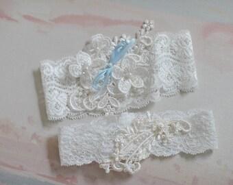 stretch lace garter, vintage garter, wedding garter set, blue garter