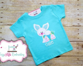 Easter Bunny shirt girl boy toddler baby infant custom monogram applique name personalized spring