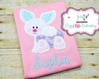 Easter Bunny shirt girl boy toddler baby infant custom monogram applique name personalized spring