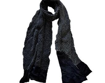 Polka Dot Handcrafted Silk Shibori Scarf - Black & White
