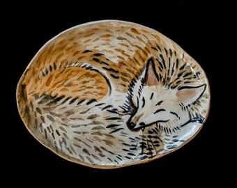 Handmade Ceramic Sleeping Fox Plate