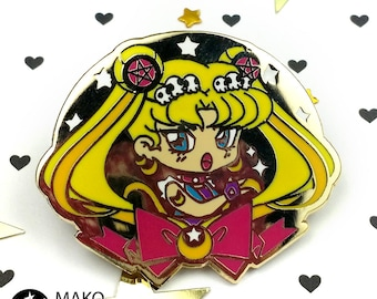 "PIN 1.5"" Badass Usagi - Hard Enamel lapel gold plated sailor moon usagi girl gang mako fufu"