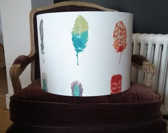 New! Large 40cm Drum Lampshade in gorgeous Harlequin Limosa Feathers Cotton Fabric. Ceiling Shade, Standard Lampshade