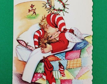 Vintage Eve Rockwell Cheerie Dearies Angel & Puppy Sleeping UNUSED Christmas Card--Free Shipping