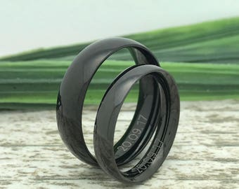 6mm/4mm Black Tungsten Rings, His and Her Ring Set, Date Rings, Couples Ring Set, Couples Names Rings, Matching Couple Ring, Fiance Ring
