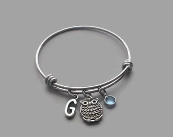 Owl Charm Bracelet, Owl Bracelet, Owl Jewelry, Bird Charm, Bird Bracelet, Initial Bracelet, Birthstone Bracelet, Stainless Steel, Custom