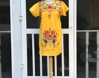 Mexican Dress | Embroidered Dress | Small Colorful Boho Dress | Cotton Dress