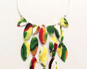 Abstract flower print necklace inspired by the winning design by Deyonte on Project Runway
