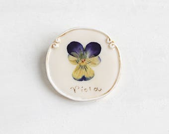 Real Pansy Brooch, Romantic Brooch, Real Flower Brooch, Rustic Jewelry, Violet Brooch, Real Flower Jewelry, Vintage Brooch, Flower Brooch
