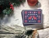 Nordic Knit Utra-Thick Holiday Card | Warm Wishes | Winter Greeting Cards | Set of 5 or 8