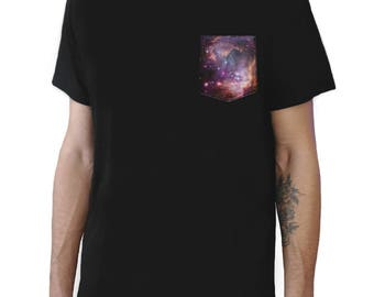 Space Galaxy Pocket Tee (27 different pockets to choose from)