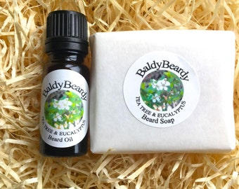 Tea Tree and Eucalyptus beard soap & oil pack for beard cleaning, hydrating, grooming, care. Healthy, strong beard growing kit, BaldyBeardy