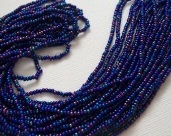 11/0 Czech Seed Beads, Czech Hanks, Strung Seedbeads, Bulk Beads, Glass Beads, Jewelry Making Supplies, Opaque Navy Blue AB Rainbow, DESTASH