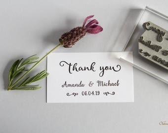 Thank you rubber stamp. Personalised . Wedding. UK