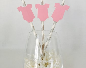 12 Baby Shower Party Straws - It's a Girl - Gender Reveal - New Baby - Pink - Baby Sprinkle - Stripes - Paper Straws