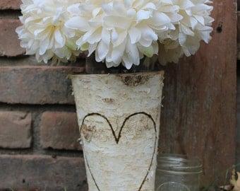 Birch Wood Vase / Bark Vase / Birchwood Vase / Bark / Sparkler Holder / Shower Centerpiece / Rustic Home Decor / Woodburning / Wood Burning
