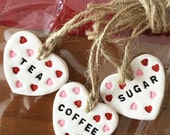 Handmade pink/red hanging heart clay tag - hanging decoration, Gifts for her, Stocking filler