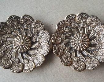 Antique Victorian Edwardian French Gilt Belt Buckle Circular Floral Ornate
