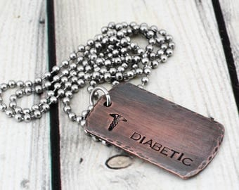 Hand Stamped Medical Alert Jewelry - Mens Medical ID Necklace - Custom Medical Alert Necklace - Medical ID Jewelry - Medical Alert Dog Tag