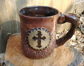 12 oz.Pottery Cross Mug, Ceramic Cross Coffee Cup, Christian Ceramics, Unique Christian Gift, Pastor Gift, Jesus Lover Gift, Clay Cross