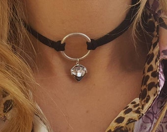 O ring Choker, Silver O ring Choker, O ring Choker with crystal, Silver Choker, Leather collar, silver ring choker