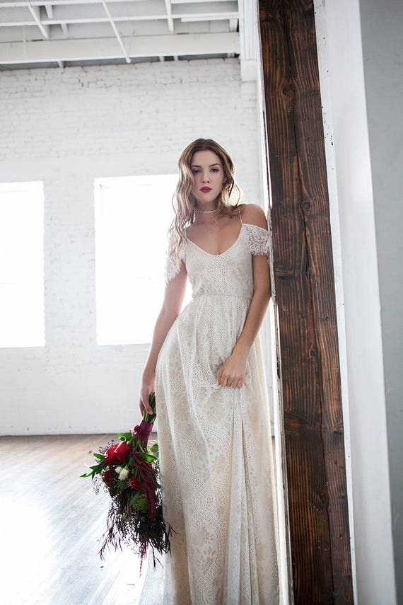 Boho wedding dress off shoulder wedding dress hippie wedding for Bohemian wedding dress shops