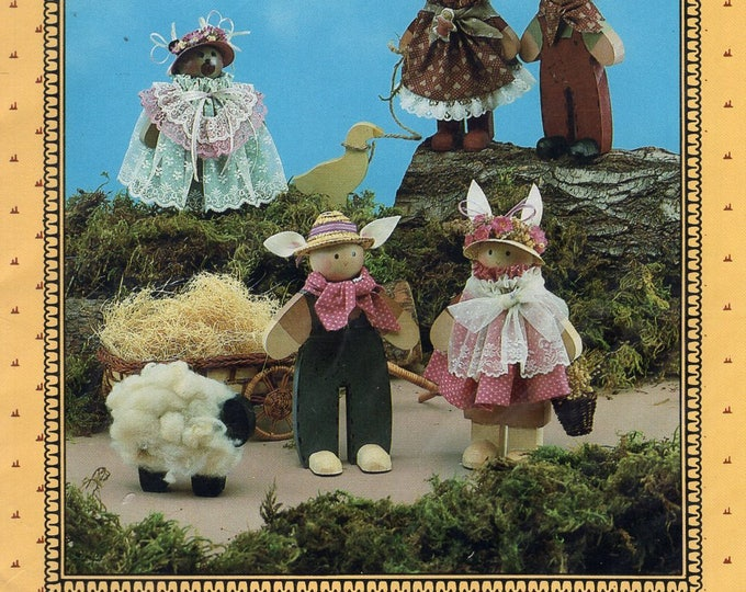 Free Us Ship Sewing Pattern Craft Unused Anything but Ordinary The Wildwood Collection Collectible Folk Dolls Bear Bunny Rabbit Farmer Wife