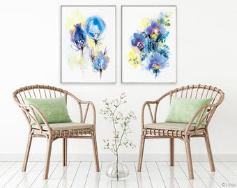 The Song, watercolor set of 2, abstract blue art, modern floral painting, watercolor flowers artwork, blue bloom poster