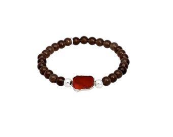 Smoky quartz bracelet, beaded bracelet, natural garnet, gemstone bracelet, stacking bracelet, stretch bracelet, brown bracelet, quartz, boho
