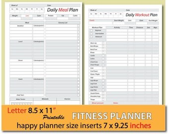 meal planner, weight loss journal, food journal, food diary, weight watchers planner, happy planner inserts, Letter size - Instant Download