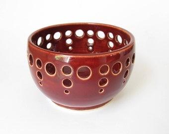 Red Pottery Lantern, Handmade Lantern, Red Pottery Luminary, Red Ceramic Luminary, Red Ceramic Candleholder, Red Tealight Holder, Pottery
