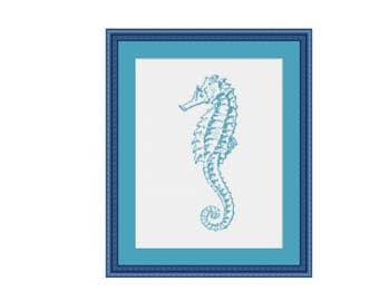 Blue Seahorse Counted Cross Stitch Pattern / Chart,  Instant Digital Download  (AP070)