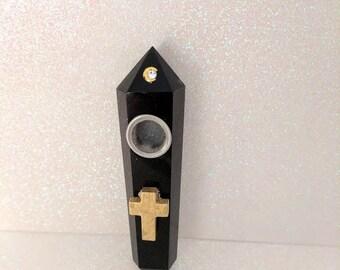 Gold Cross Black Quartz Crystal Wand Smoking Pipe, Quartz Pipe, Smoking Pipe, Crystal Pipe, Crystal Quartz, Gemstone Pipe