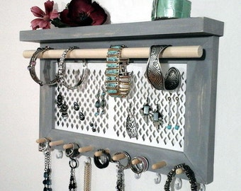 Jewelry Organizer, Jewelry Holder Wall Mount Earring Holder, Necklace Holder, Ring and Bracelet Holder. Jewelry Hanger. You Pick the Color!