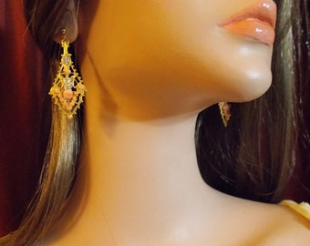 Vintage, Coral Filigree Earrings and matching Bracelet. Gold Plated, Coral Chips, carved Coral Flower, Rhinestones. Breathtaking!
