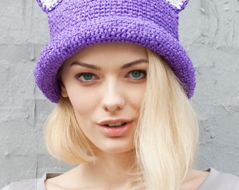Summer | Cat | Hat | Crochet |  Raffia | Purple