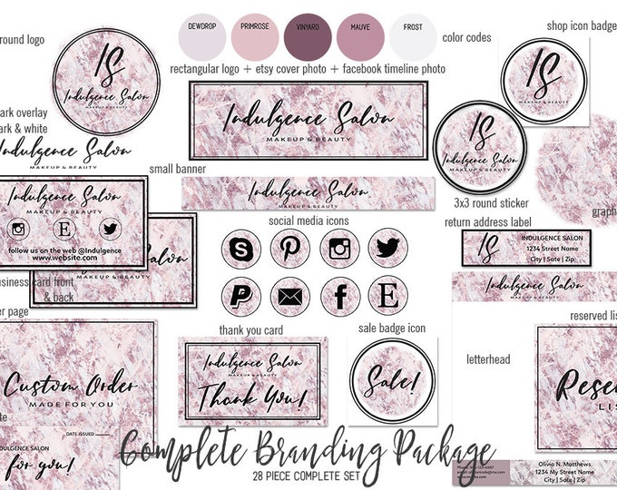 BLUSH PINK MARBLE Modern Branding Kit Package Girl Boss Etsy Shop Set Hand Lettered Font Cover Photo Logo Business Card Social Media Icon