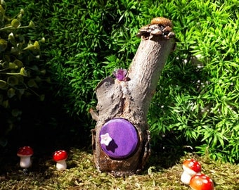 Pixie Woodland Fairy House with Purple Door with a Pine Cone Roof and Bird