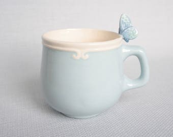 Ceramic light blue tea cup with turquoise butterfly  - tiled animal figurine miniature surprise