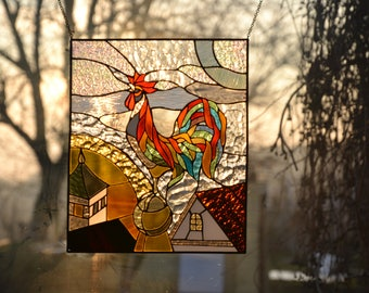 Rooster Stained glass panel Tiffany method. Suncatcher window pendant. Handmade wall hanging Glass painting Decor. Stained glass bird